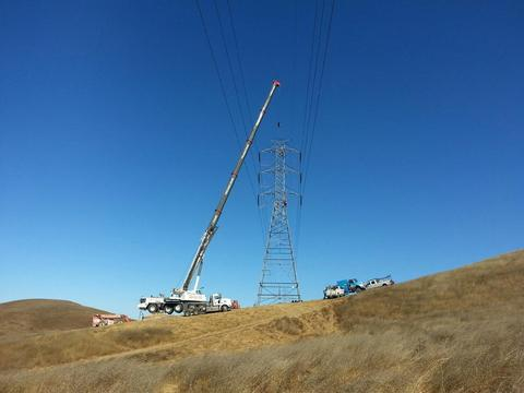 Crane Working on Remote Hillside